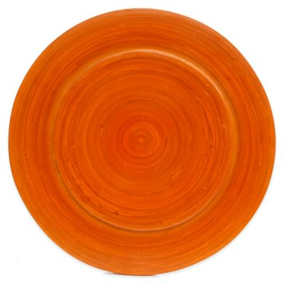 Gibson Overseas Bamboo Charger Plate in Orange