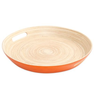 Gibson Overseas Round Bamboo Serving Tray in Orange