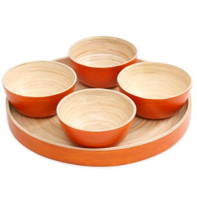 Gibson Overseas 5-Piece Bamboo Dip Bowl Set in Orange