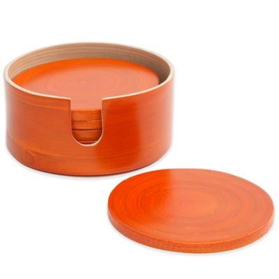 Gibson Overseas 7-Piece Bamboo Coaster Set in Orange