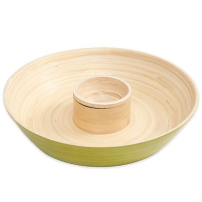 Gibson Overseas Bamboo Chip & Dip Tray in Green