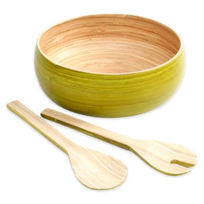 Gibson Overseas Bamboo 3-Piece Salad Set in Green
