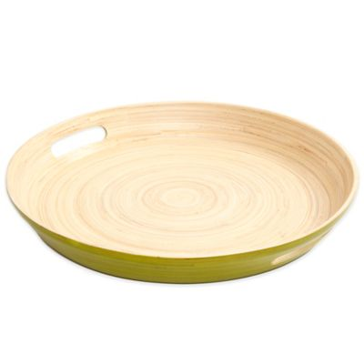 Gibson Overseas Round Bamboo Serving Tray in Green