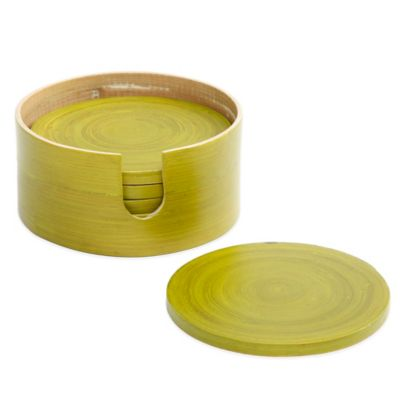 Gibson Overseas 7-Piece Bamboo Coaster Set in Green