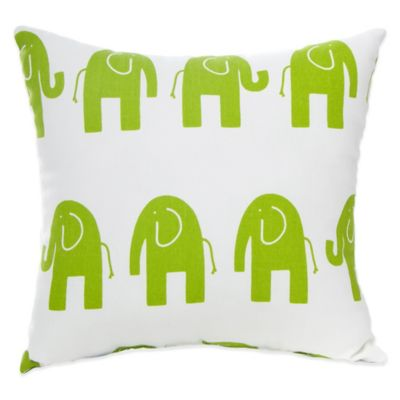 Glenna Jean Ellie & Stretch Elephant Square Throw Pillow in Green