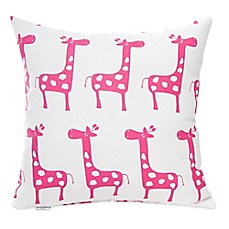 Glenna Jean Ellie & Stretch Giraffe Square Throw Pillow in Pink