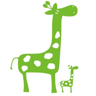 Glenna Jean Ellie & Stretch Giraffe Wall Decals in Green (Set of 2)