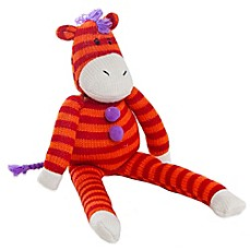 Glenna Jean Ellie & Stretch Plush Striped Zebra in Orange/Red