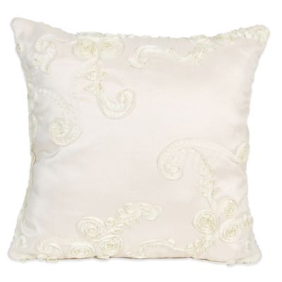 Glenna Jean Central Park Ribbon Throw Pillow in Cream