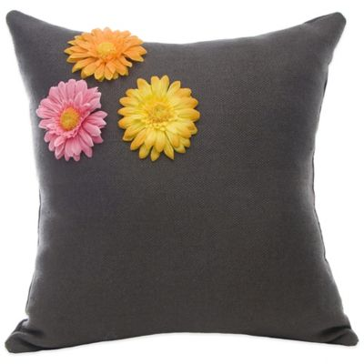 Glenna Jean Kirby Dimensional Flower Throw Pillow in Charcoal