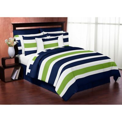Sweet Jojo Designs Navy and Lime Stripe 4-Piece Twin Comforter Set