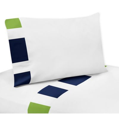 Sweet Jojo Designs Navy and Lime Stripe Twin Sheet Set