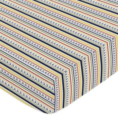 Sweet Jojo Designs Robot Striped Fitted Crib Sheet