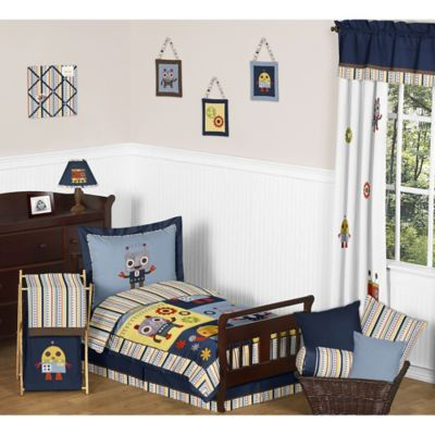 Sweet Jojo Designs Robot 5-Piece Toddler Bedding Set