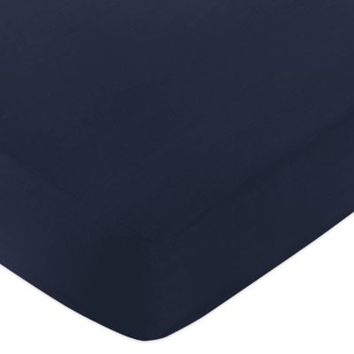 Sweet Jojo Designs Space Galaxy Fitted Crib Sheet in Solid Navy