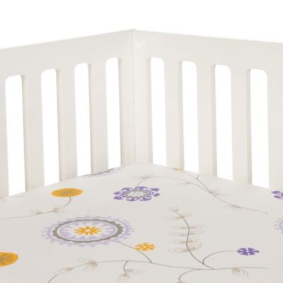 Glenna Jean Fiona Floral Fitted Crib Sheet in White/Purple