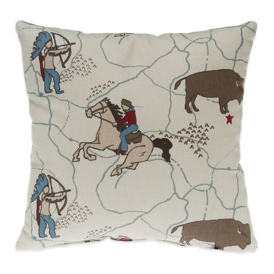 Glenna Jean Happy Trails Cowboy Print Throw Pillow
