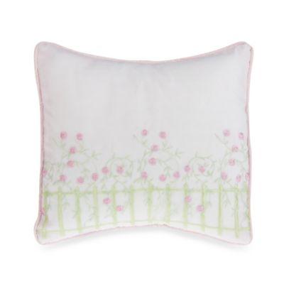 Glenna Jean Secret Garden Picket Fence Embroidered Throw Pillow
