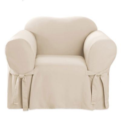 Sure Fit® Canvas CVC Chair Slipcover in Hunter Green