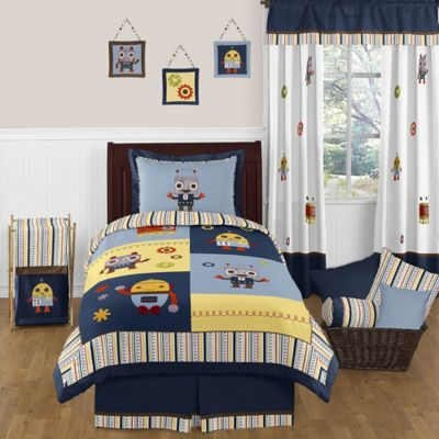 Sweet Jojo Designs Robot 4-Piece Twin Comforter Set