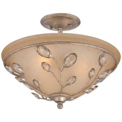 Quoizel Wesley Large Semi-Flush Mount Chandelier in Italian Fresco with India Scavo Glass Shade