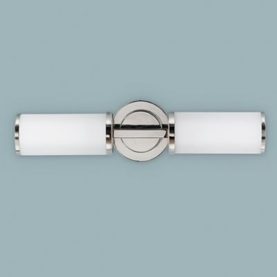 Feiss® Industrial 2-Light Wall-Mount Sconce in Polished Nickel with Opal Etched Glass Shades