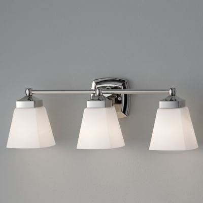 Feiss® Delaney 3-Light Wall-Mount Vanity Strip in Polished Nickel with Opal Etched Glass Shades