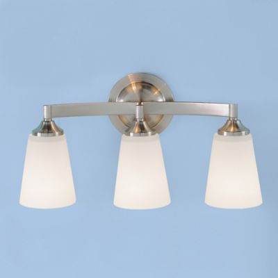 Feiss® Gravity 3-Light Wall-Mount Vanity Light in Brushed Steel with Glass Shades