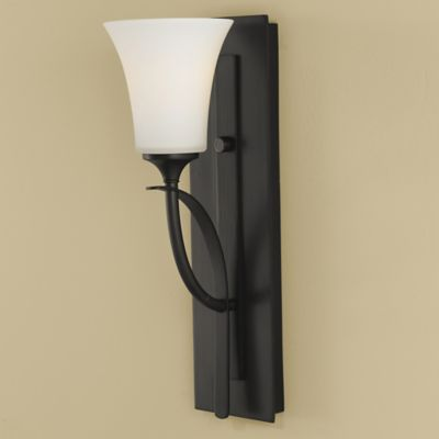 Feiss® Barrington Wall-Mount Vanity in Oil Rubbed Bronze with Opal Etched Glass Shade