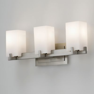 Feiss® Riva 3-Light Wall-Mount Vanity Light in Brushed Steel with Glass Shades