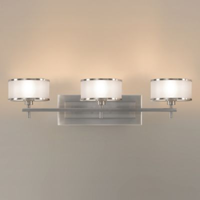 Feiss® Casual Luxury 3-Light Wall-Mount Vanity in Brushed Steel with Silver Fabric Shades