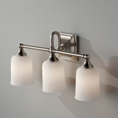 Feiss® Harvard 3-Light Wall-Mount Vanity Strip in Chrome with White Opal Etched Glass Shades