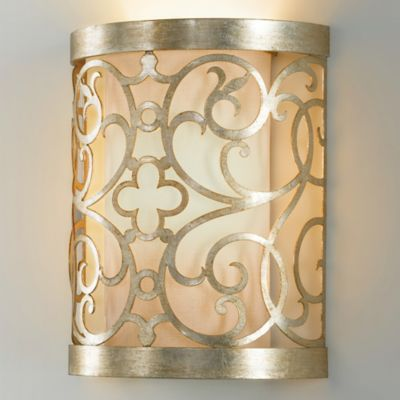 Feiss® Arabesque Wall Sconce in Silver Leaf Platina with Ivory Linen Shade