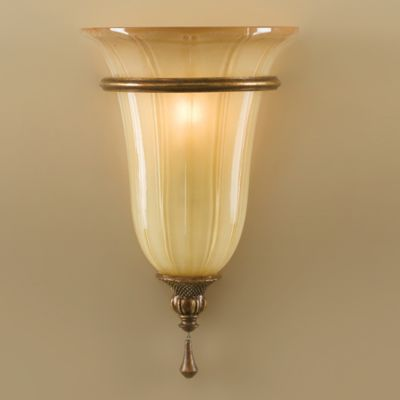 Feiss® Celine Wall Sconce in Firenze Silver with Striated Art Glass Shade