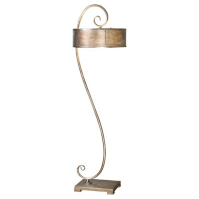 Uttermost Dalou Scroll Floor Lamp in Silver with Metal Shade