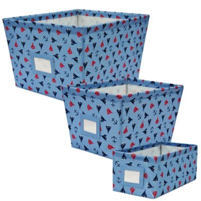 Nautical Print Medium Storage Bin in Blue