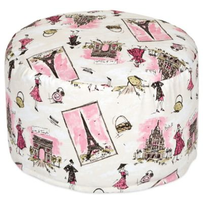 Waverly® Baby by Trend Lab® Tres Chic Petite Pouf Ottoman in White/Pink/Tan