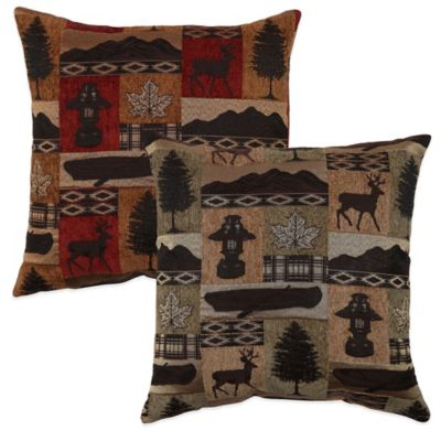 Lodge Reversible Square Throw Pillow in Evergreen