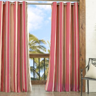 Parasol Windley Key Stripe 84-Inch Indoor/Outdoor Window Curtain Panel in Chili