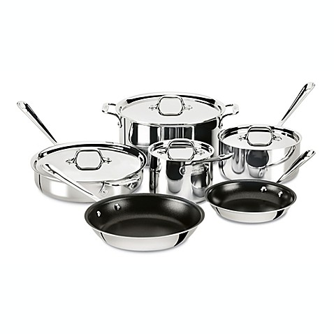 All Clad Stainless Steel Nonstick 10 Piece Cookware Set
