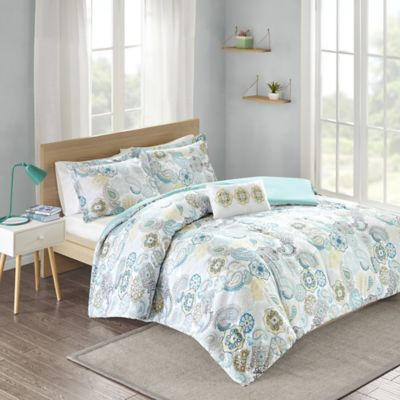 Mizone Tamil Reversible Twin/Twin XL Comforter Set in Blue