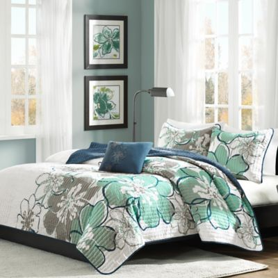 Mizone Allison Reversible Full/Queen Coverlet Set in Blue/Green