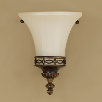 Feiss® Drawing Room 8-Inch Wall Sconce in Walnut with Amber Snow Scavo Glass Shade