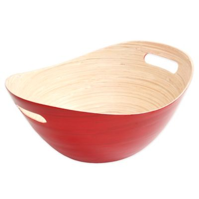 Gibson Overseas Oval Bamboo Bucket Bowl in Red