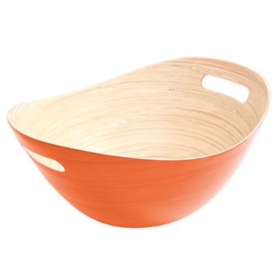 Gibson Overseas Oval Bamboo Bucket Bowl in Orange