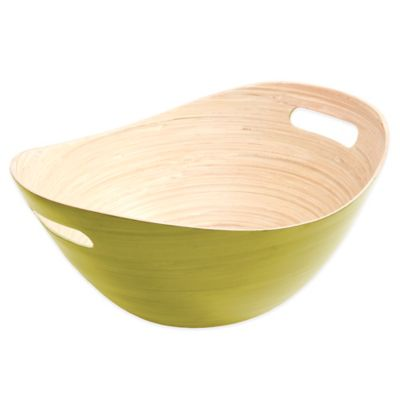 Gibson Overseas Oval Bamboo Bucket Bowl in Green