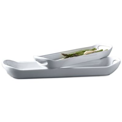 Tabletops Unlimited® Blanc de Blanc 2-Piece Narrow Platter Set