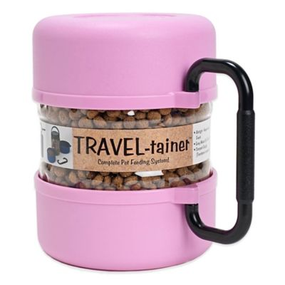 Vittles Vault Travel-Tainer Pet Bowl in Pink