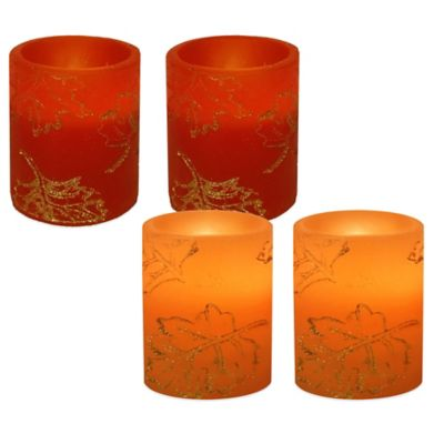 Glitter Leaf 4-Inch Flameless Candles in Amber (Set of 2)