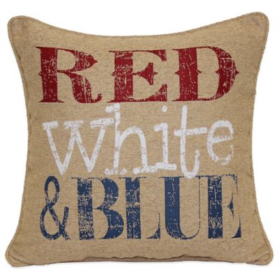 Red-White-Blue Square Throw Pillow in Multi
